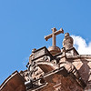 Cusco Cathedral (Cathedral of Santo Domingo)<br>Roofline detail - main entrance to the cathedral.