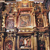 Cusco Cathedral (Cathedral of Santo Domingo)<br /> Altar de Señor de Unu Punku (unu = water; punku = doorway).<br /> Tradition has it that the cathedral was built over a lake and that the water could be seen by lifting the flagstone in front of the altarpiece. In reality the water is from a spring drainage channel.<br /> <br /> (Photography not allowed; scanned from postcard.)